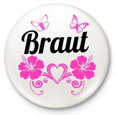 Button Braut (mit Schmetterlingen)