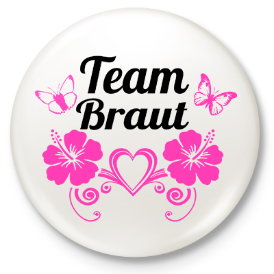 Button Team Braut (weiß)